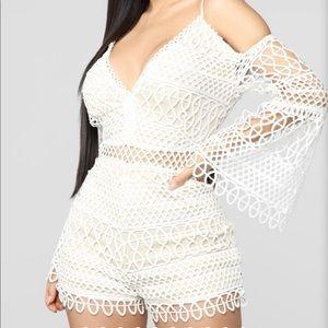 Fashion nova white crochet romper